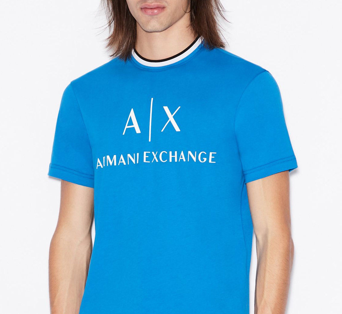 Armani Exchange man model wearing a t-shirt