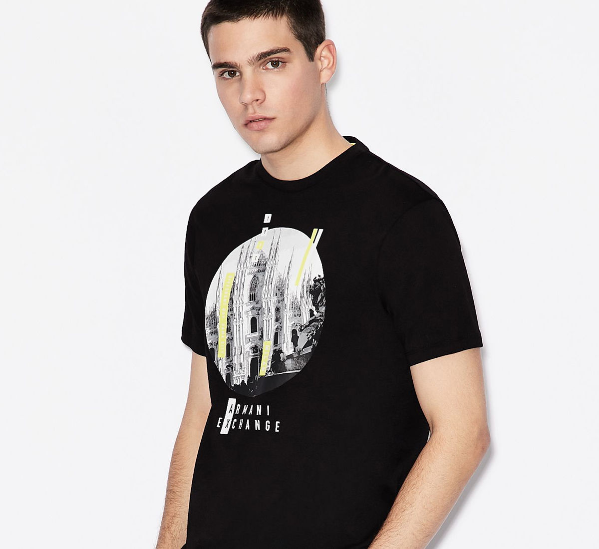 Armani Exchange model wearing a graphic tee