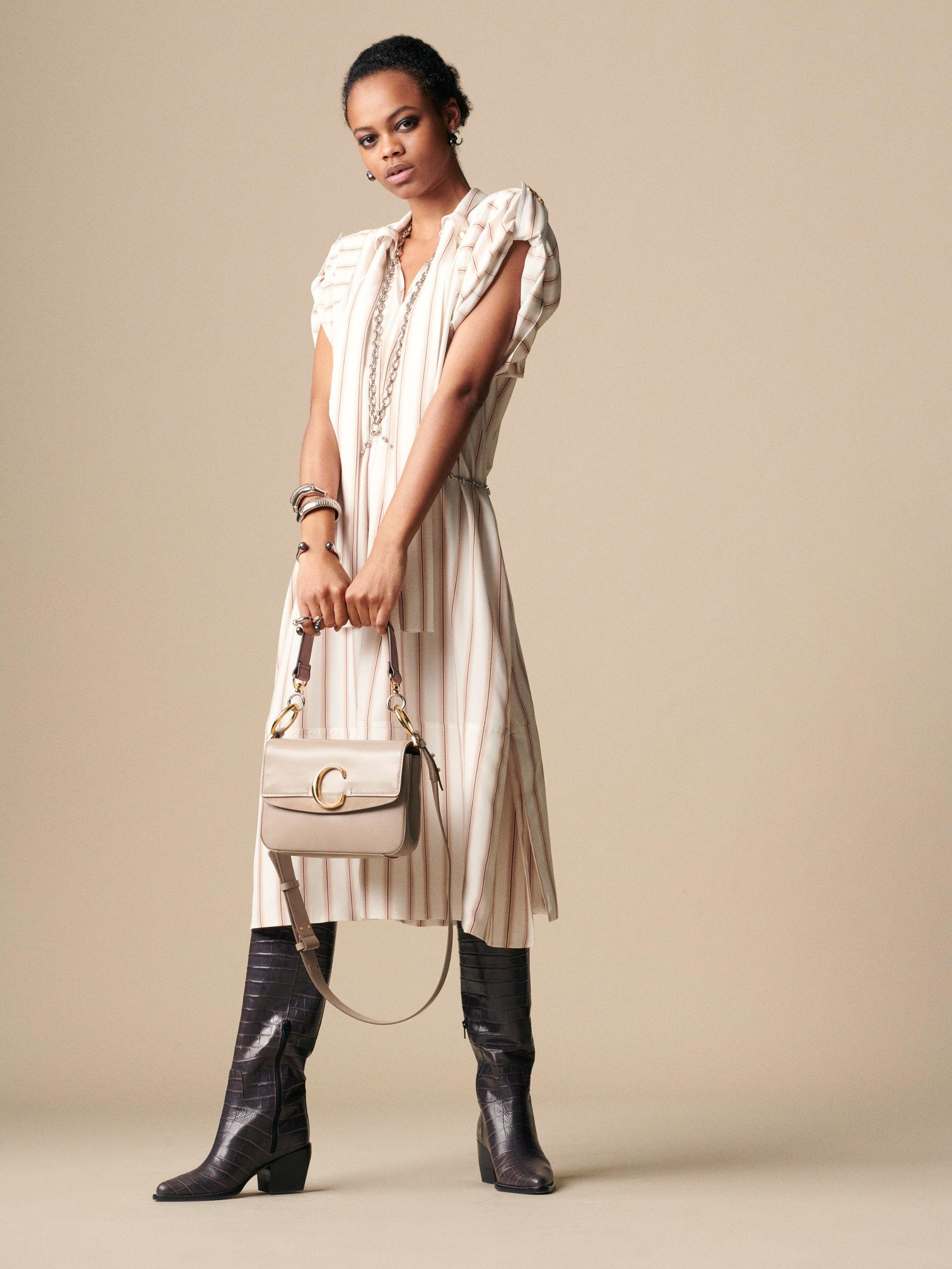 7ce278860db04 Dress CHC19SRO3733195F Beige – Brown Dégradé Stripe On Silk