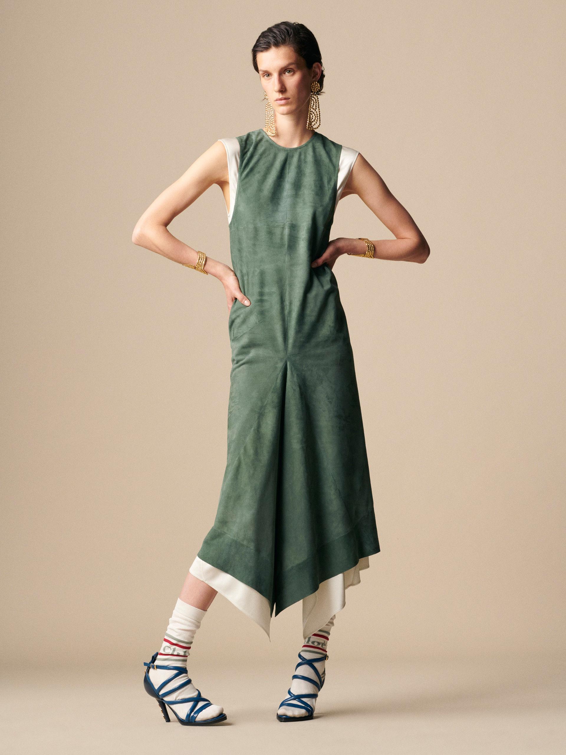 be3b5335a5d5e Dress CHC19SCR062043L6 Stormy Green Velvet Goatskin