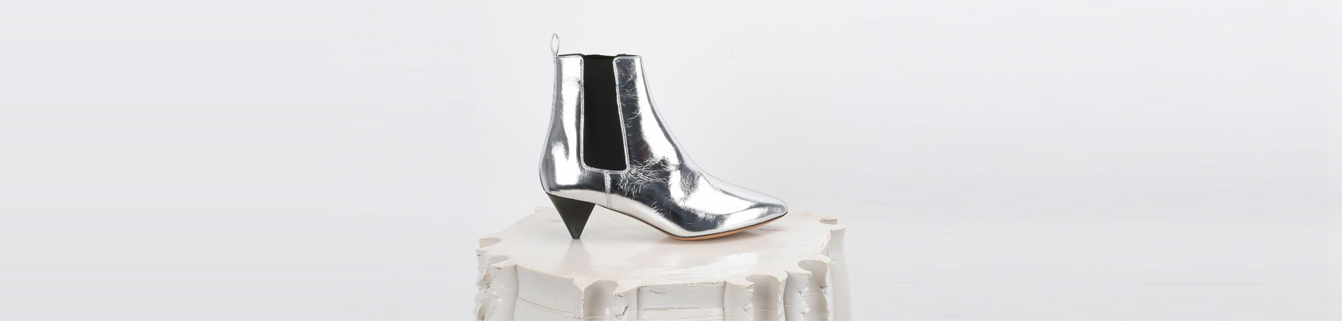 Dawell Leather mid heel ankle boots with stretch panels
