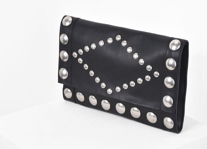 NICIA studded vegetable leather cross body clutch bag