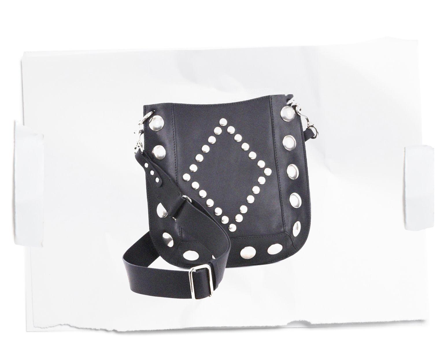 OSKAN studded vegetable leather cross body hobo bag