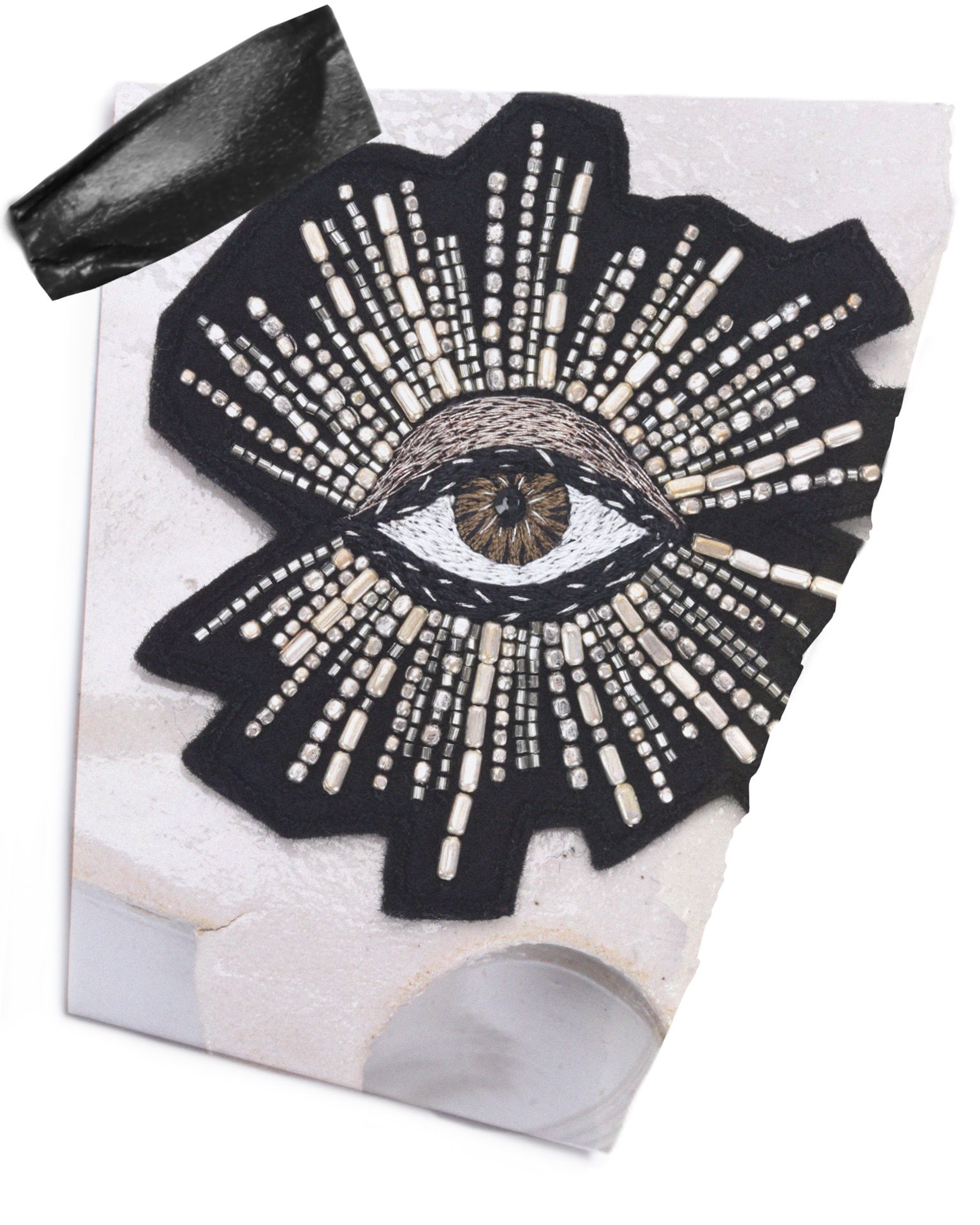 LOOK AT ME embroidered Eye brooch