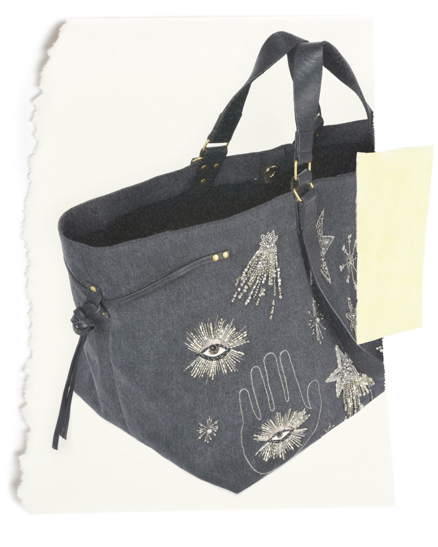 WARDY embroidered cotton and leather shopper bag