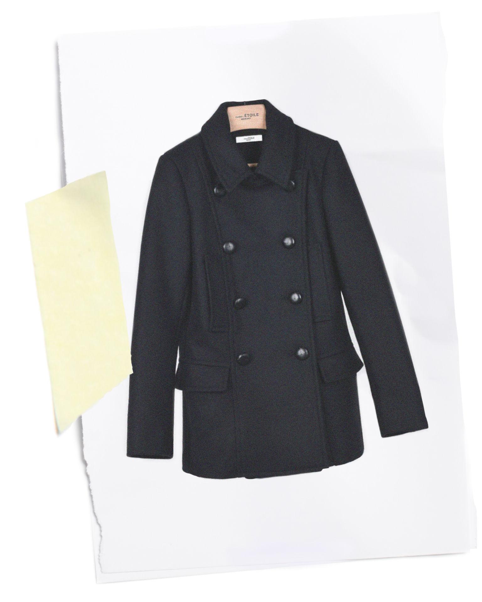 Floffy short wool pea coat