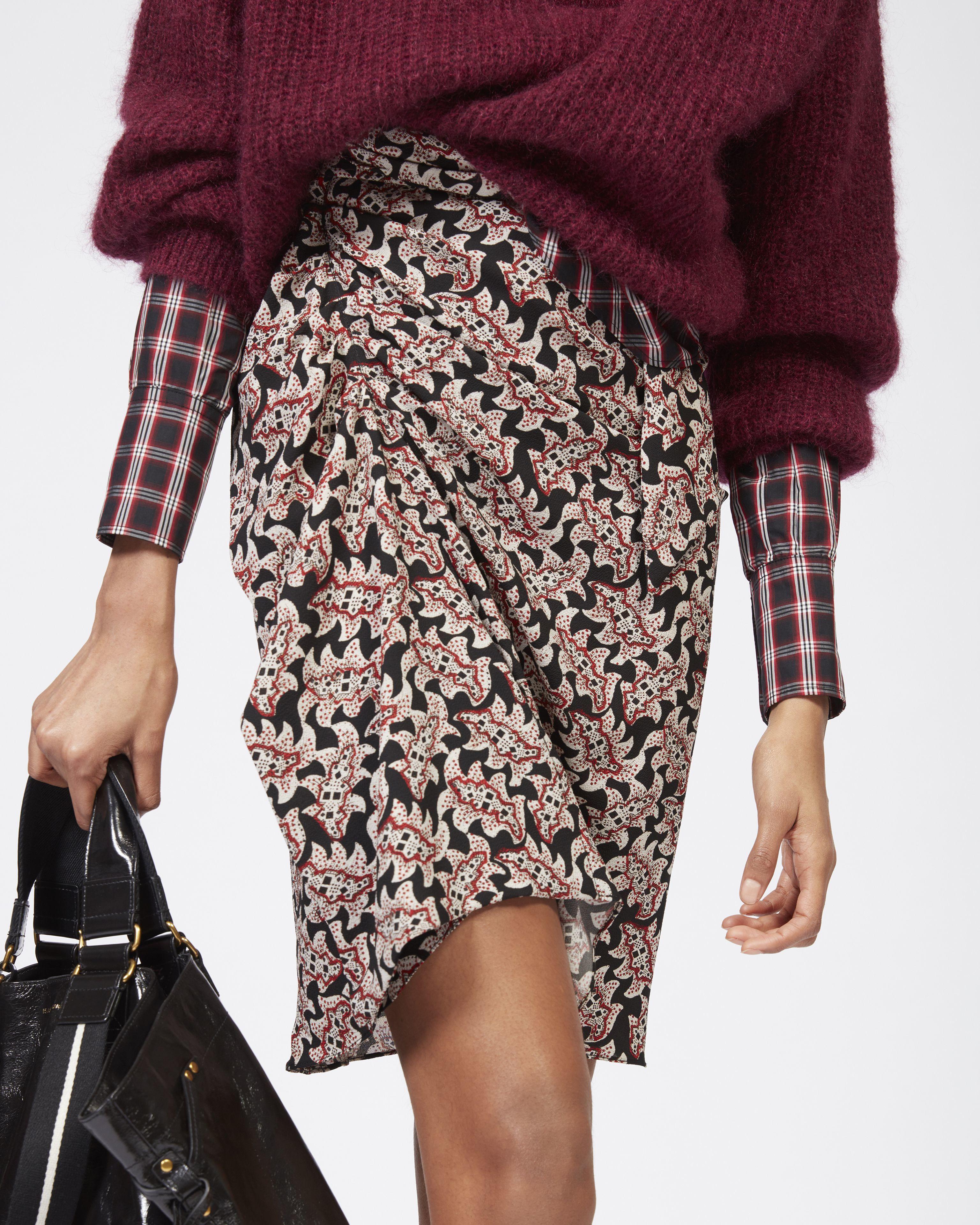 LOELA printed crêpe skirt