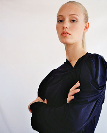 Model is wearing the Gillian top.