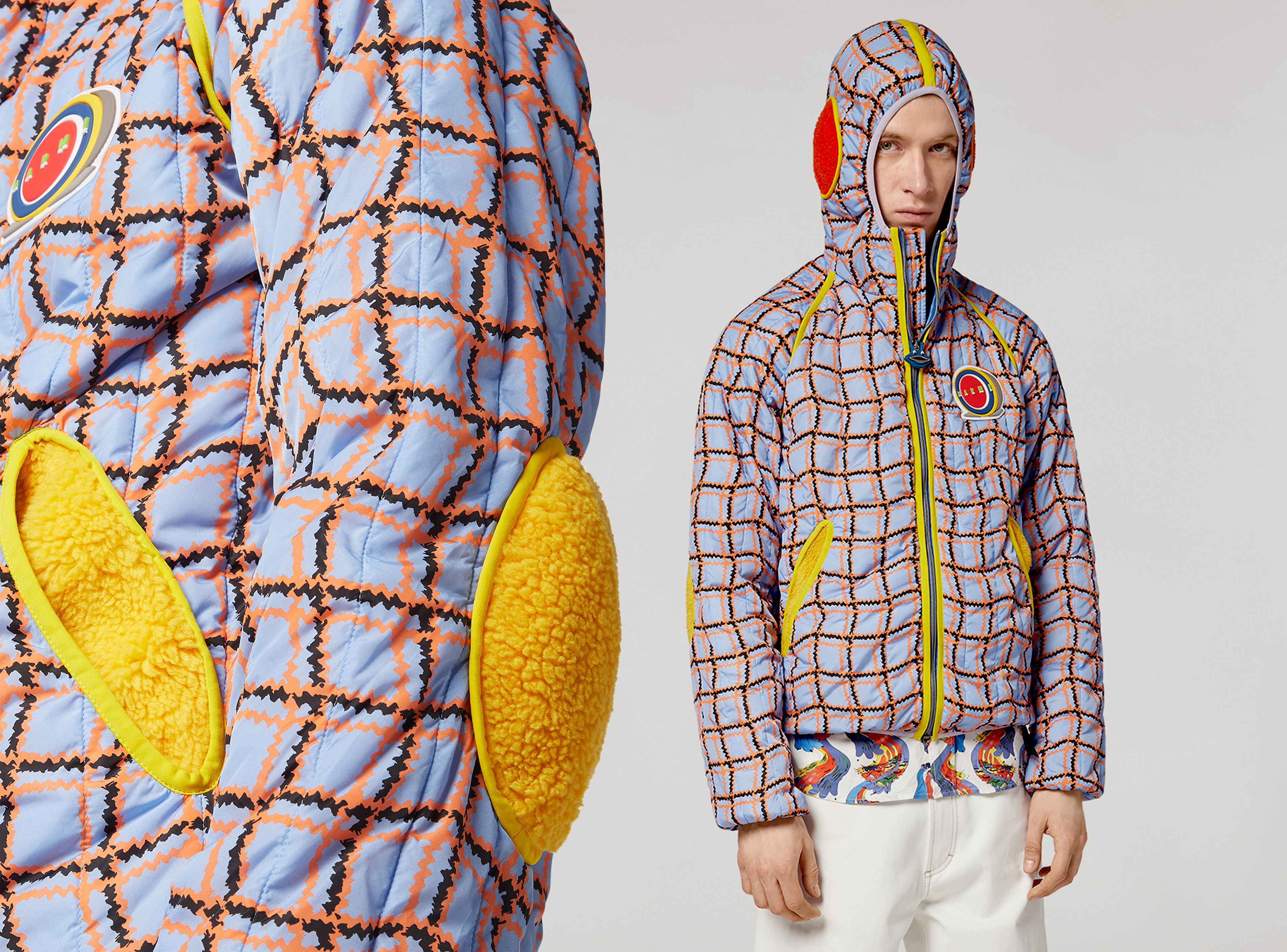 Model wears a padded nylon jacket in vibrant colours