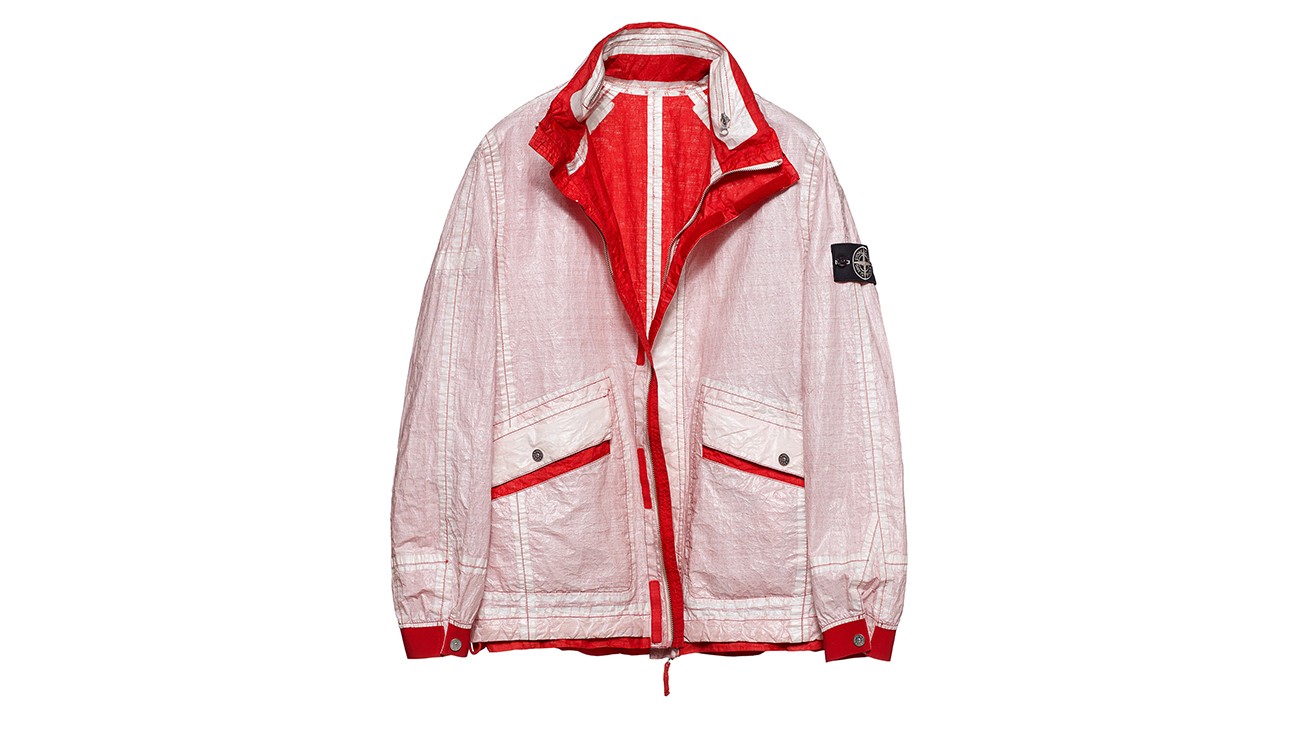 Reversible, lightweight jacket in Dyneema flexible composite fabric with one side in white and one in red.
