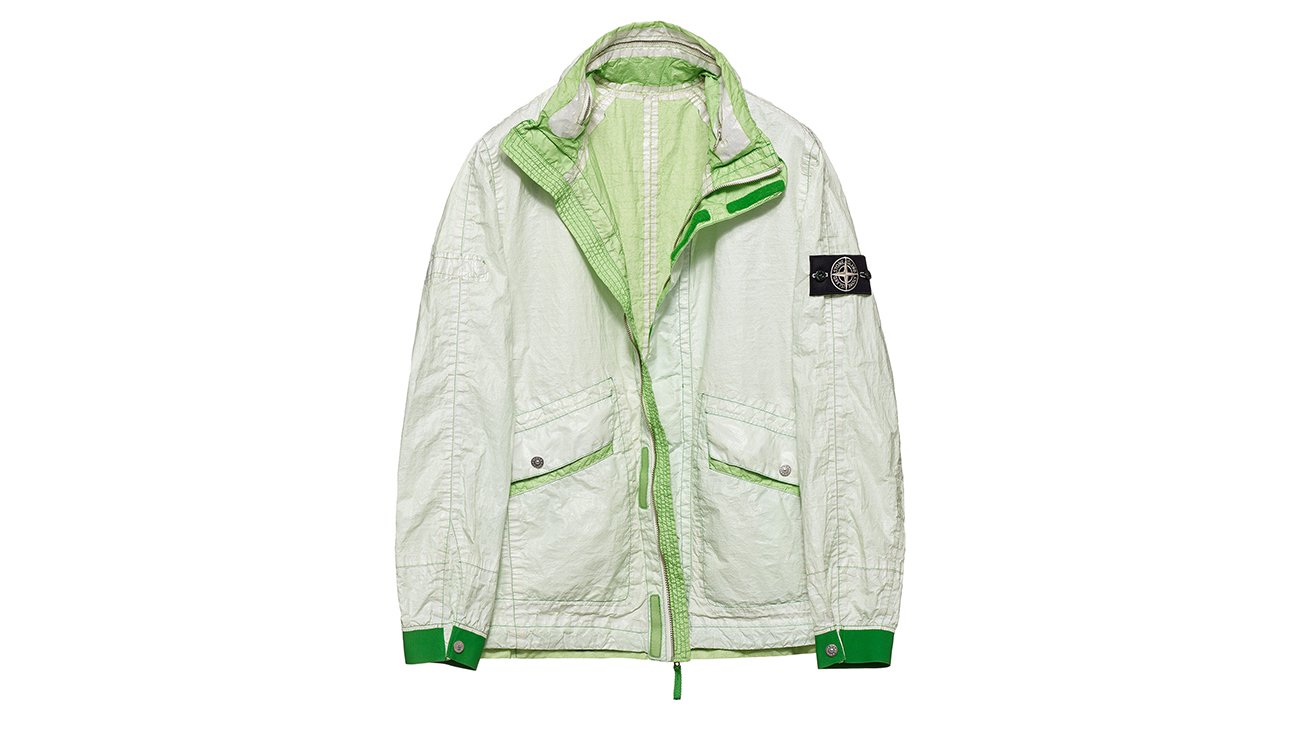 Reversible, lightweight jacket in Dyneema flexible composite fabric with one side in white and one in light green.