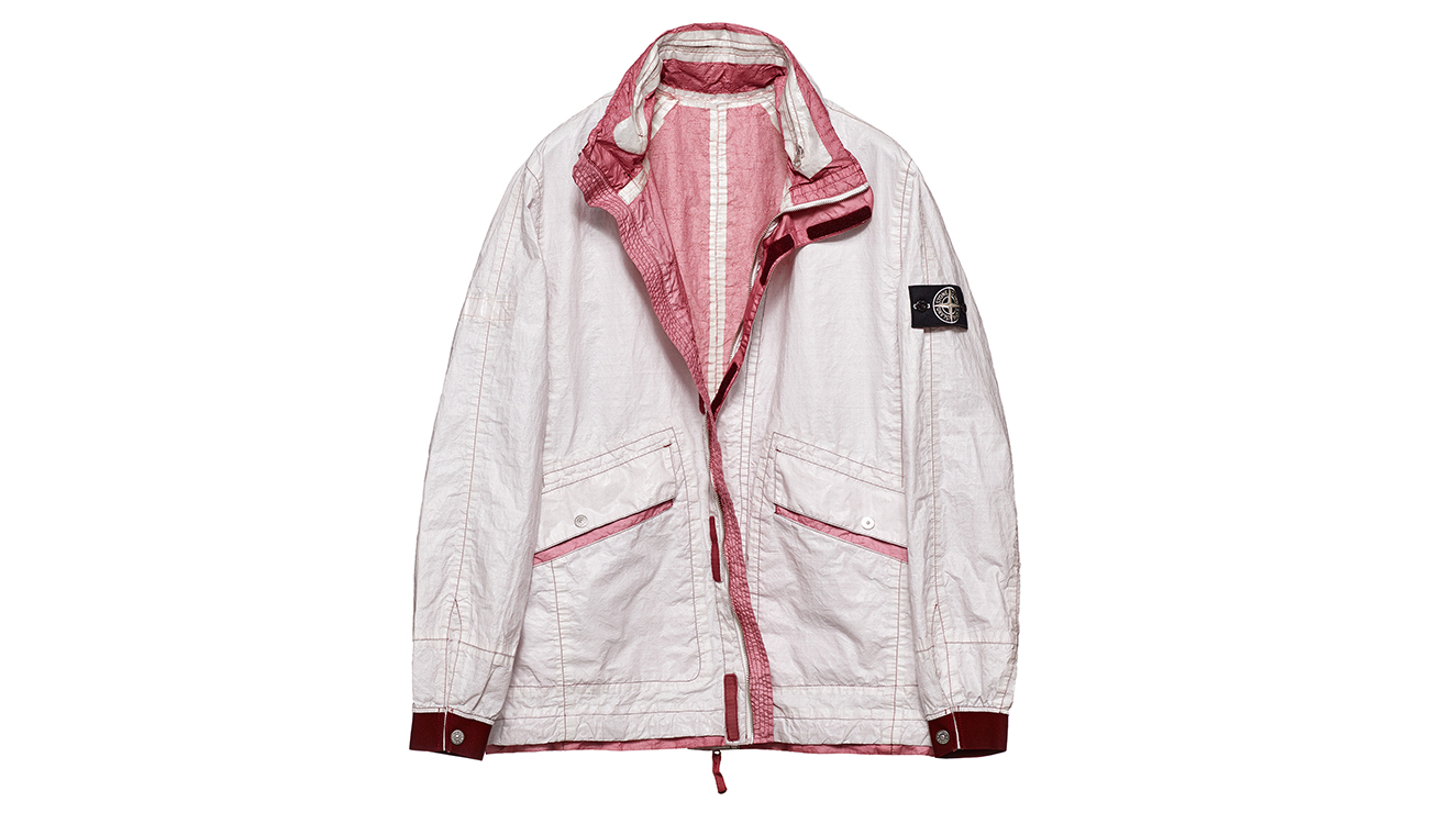 Reversible, lightweight jacket in Dyneema flexible composite fabric with one side in white and one in deep rose pink.