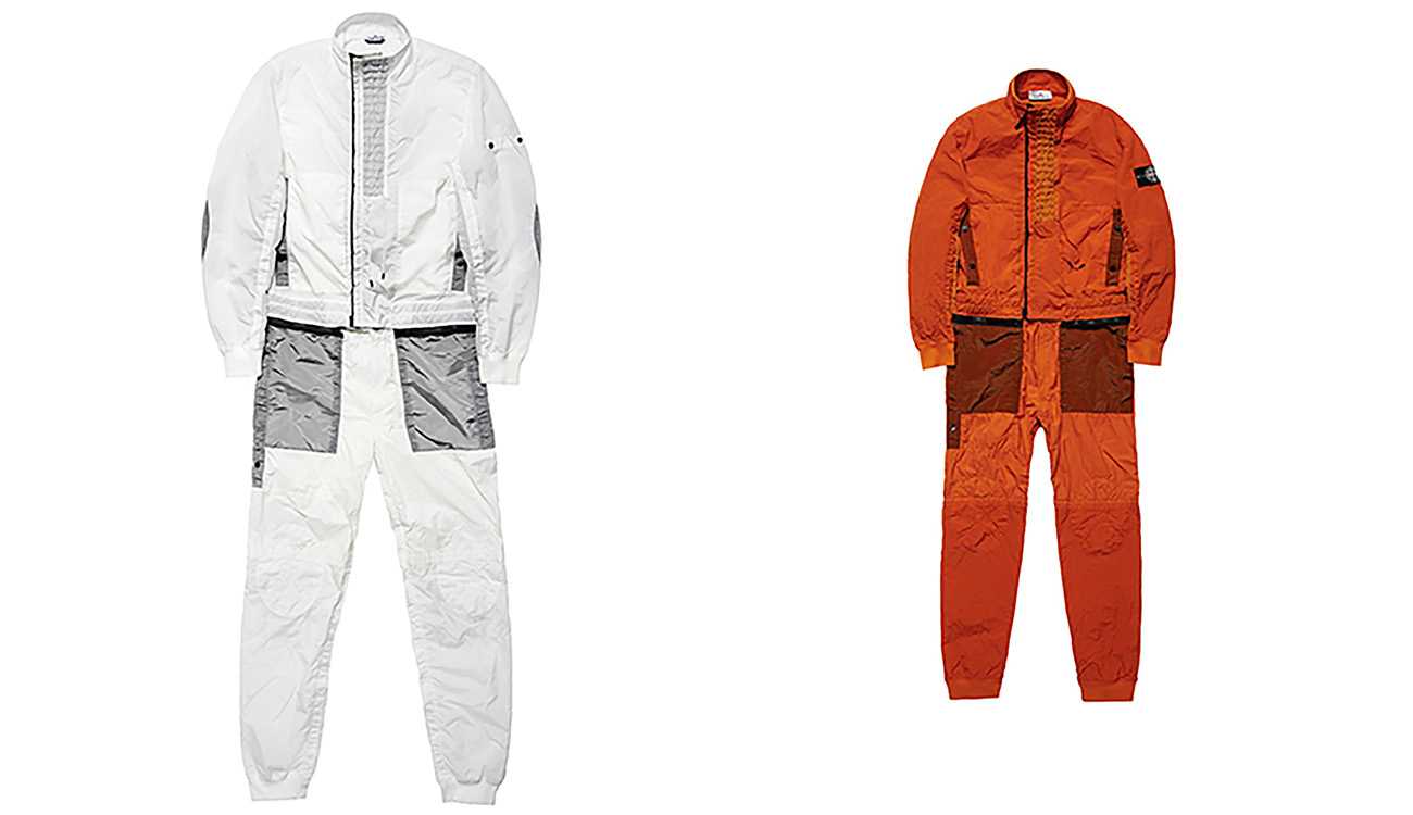 Front sides of white jumpsuit and orange jumpsuit.