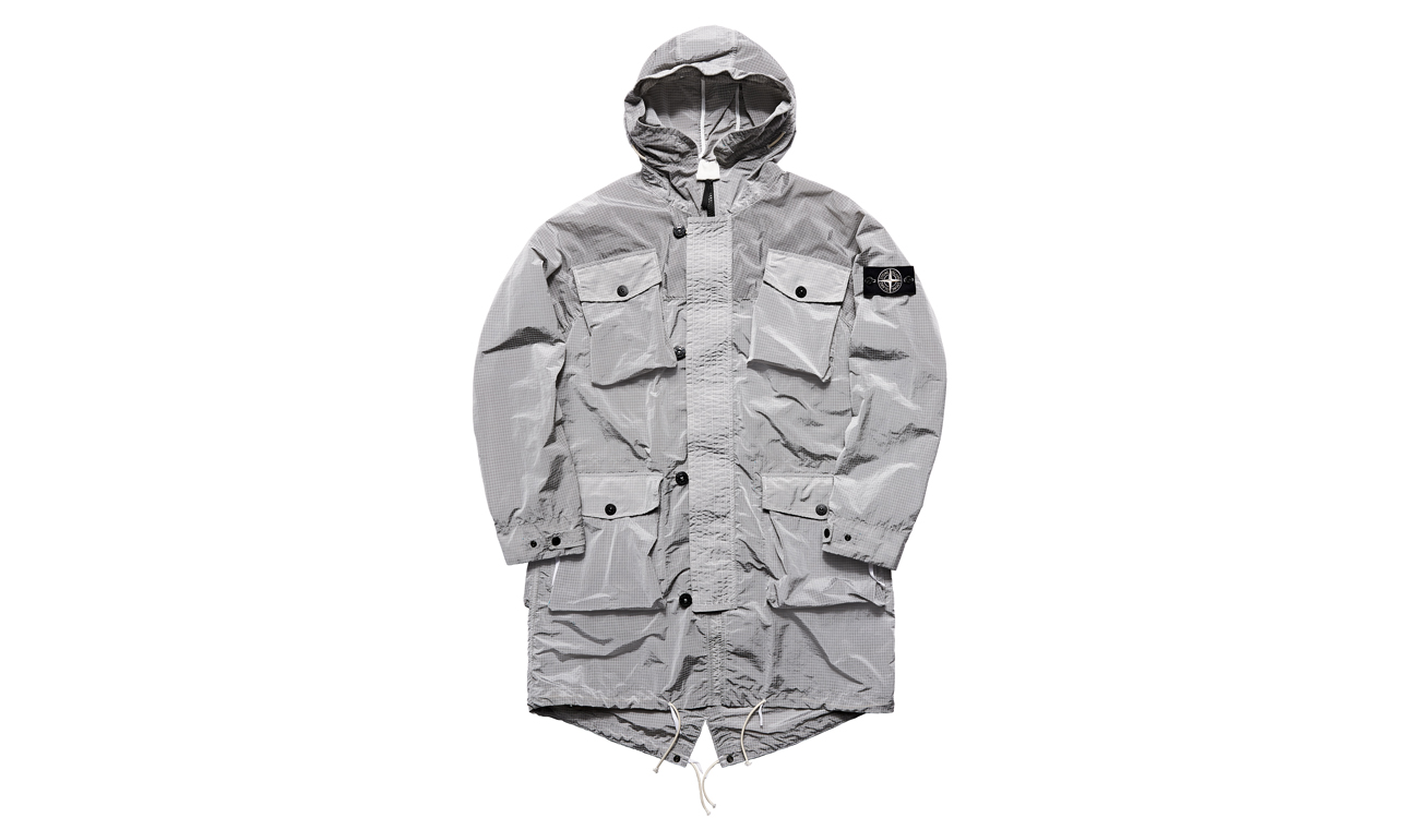 Front view of Stone Island hooded jacket before being dyed.