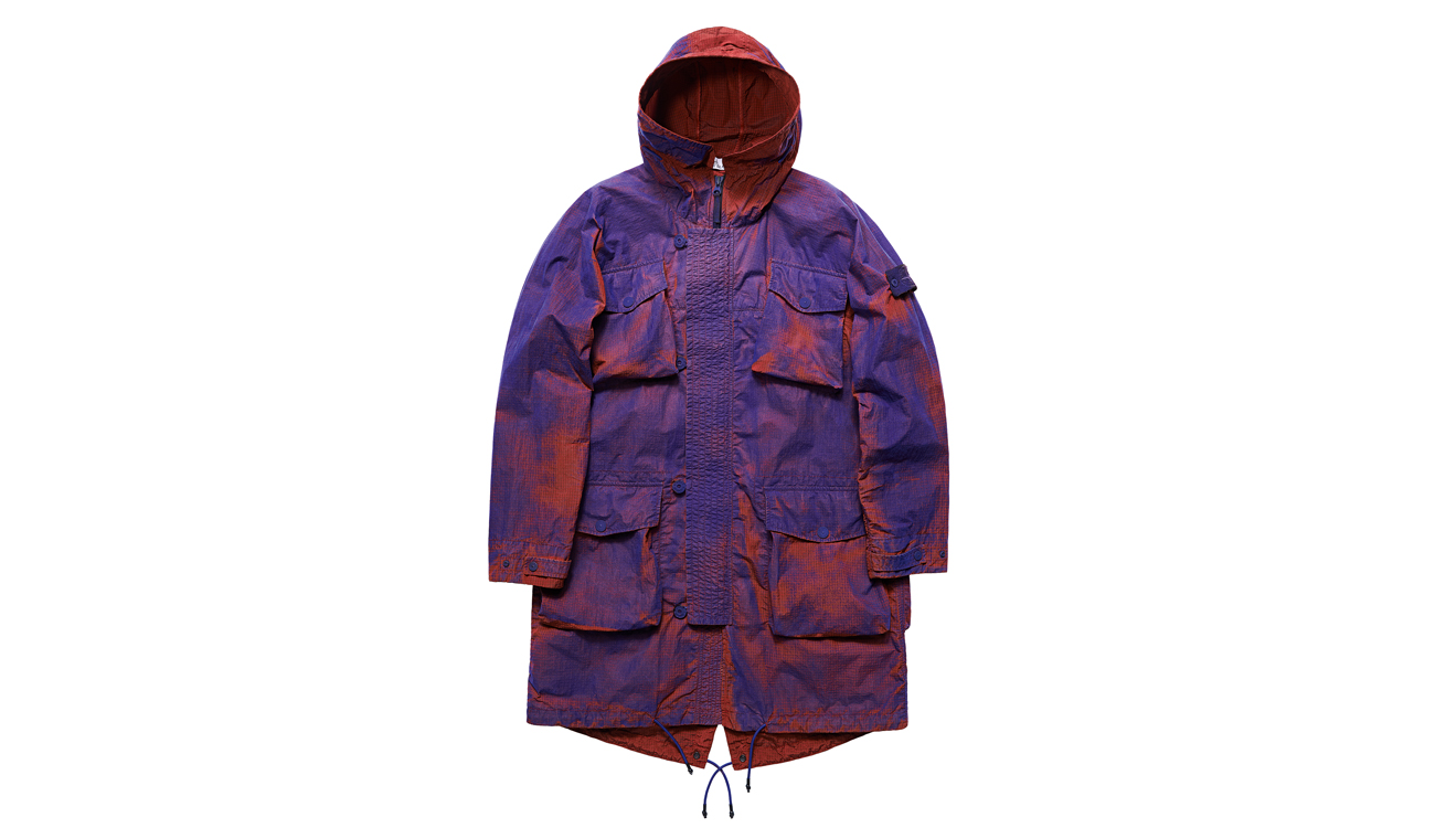 Front view of Stone Island hooded jacket after being dyed blue and red.