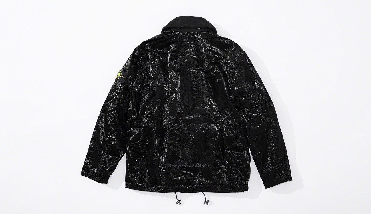 Back of black jacket in New Silk Light fabric.
