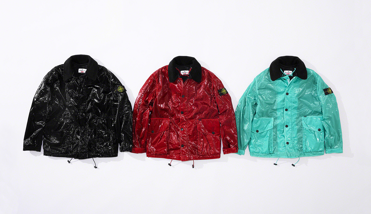 Three jackets in New Silk Light fabric, one black, one red and one aquamarine.