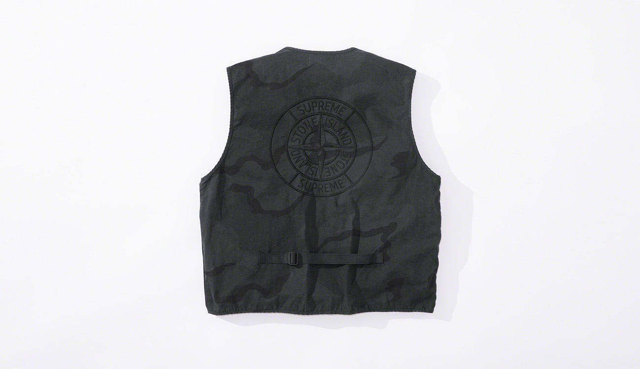 Back of black vest showing theStone Island Supreme PIN embroidery.