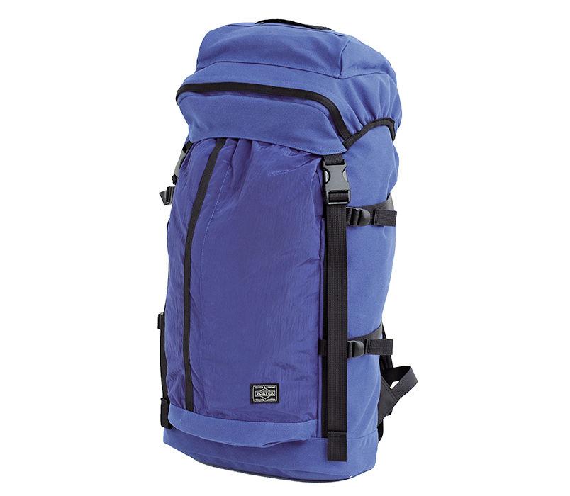 A blue backpack made of Polypropylene Tela and Nylon Metal.