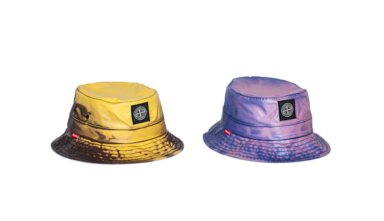 Two crusher hats, one yellow, one blue, in Heat Reactive fabric.