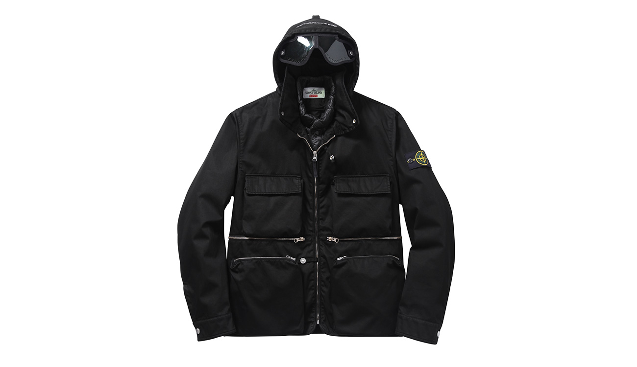 Black, hooded jacket with four front pockets and zip closure.
