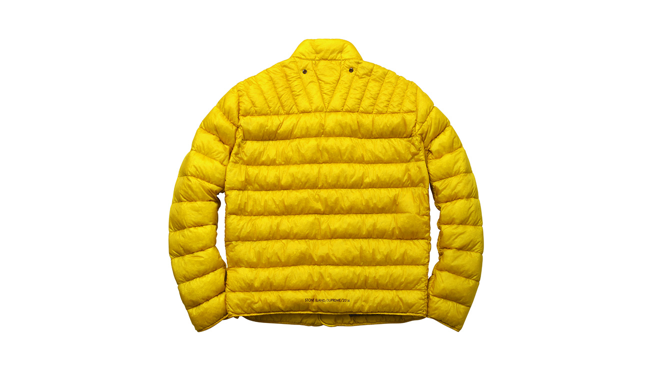 Back of yellow, quilted jacket.