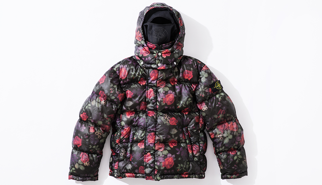 Front of down jacket in Lamy Cover fabric with black and floral print.