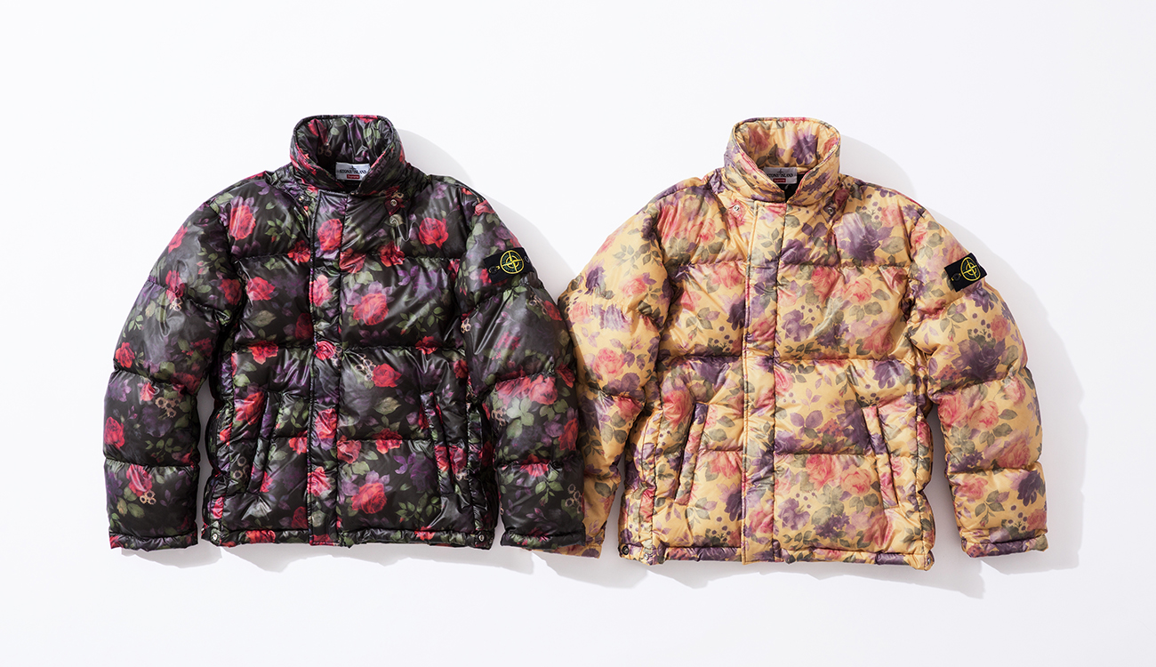 Front of two down jackets in Lamy Cover fabric, left one in black, right one in cream, both with floral print.