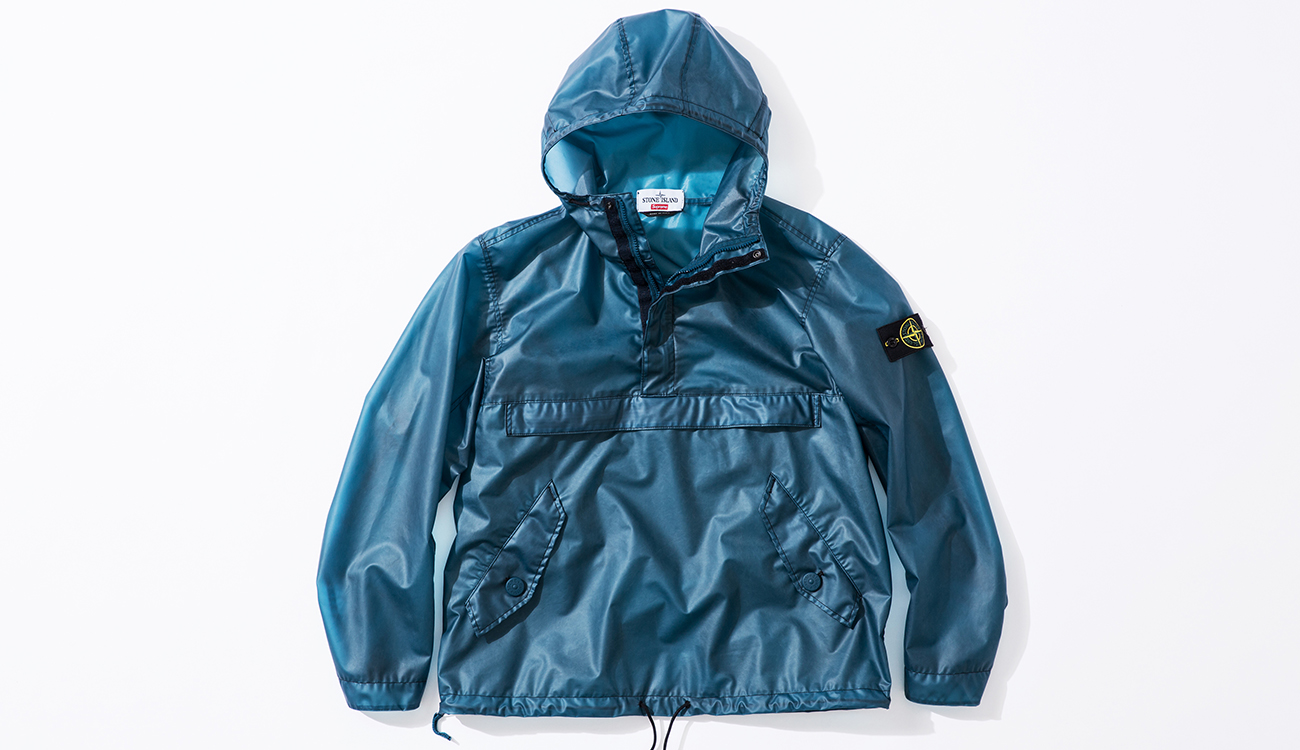 Front of blue anorak in Poly Cover Composite fabric.