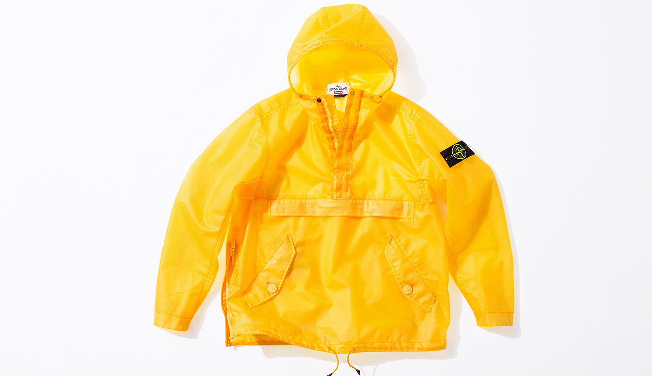 Front of yellow anorak in Poly Cover Composite fabric.