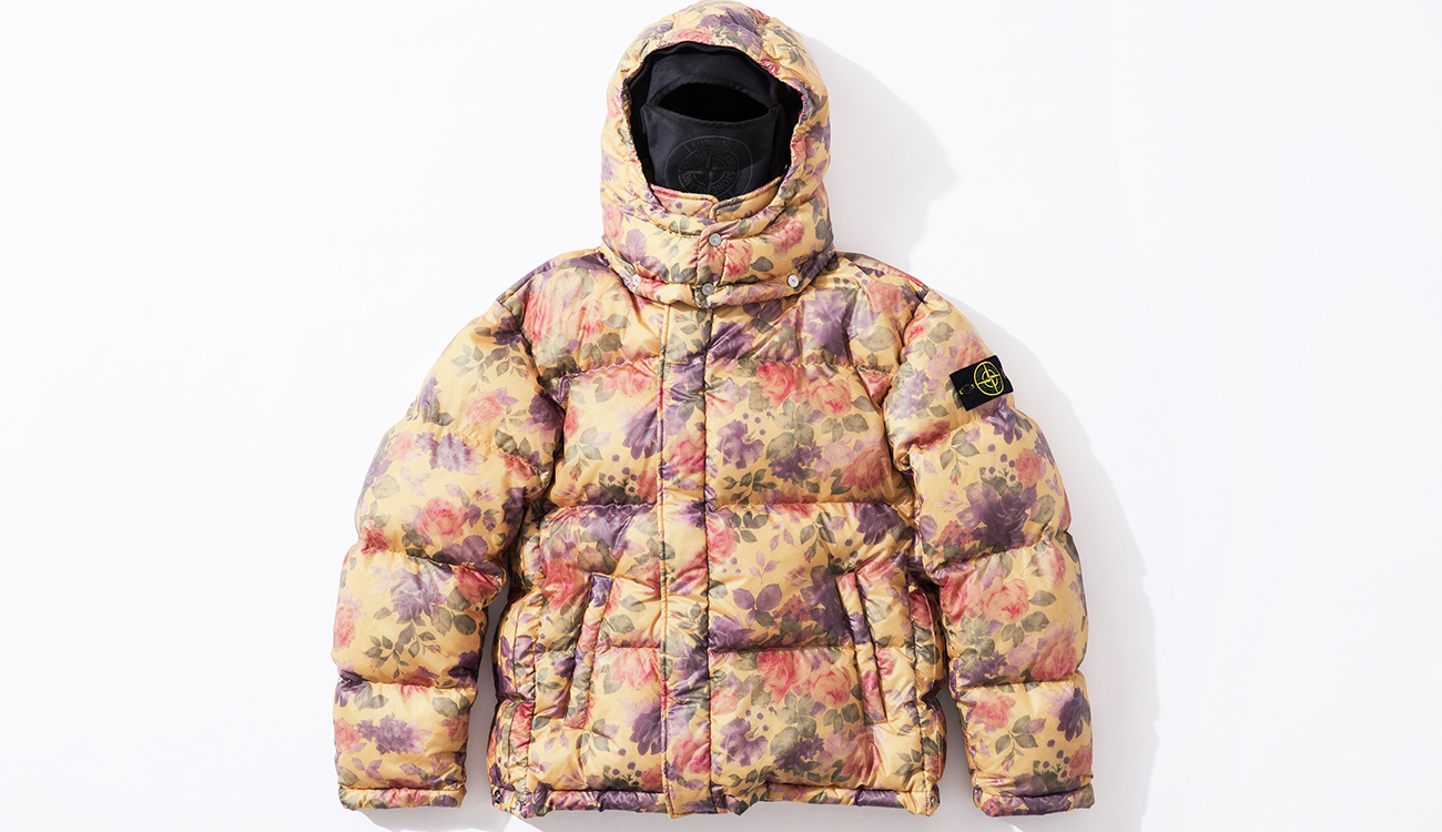 Front of down jacket in Lamy Cover fabric with cream and floral print.