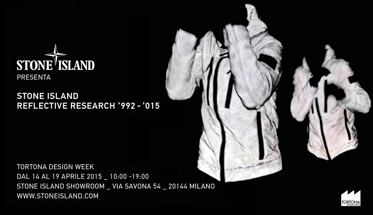 Black and white image of the Petrosyan brothers in boxing positions alongside information about Stone Island Reflective Research 1992 -2015 retrospective.