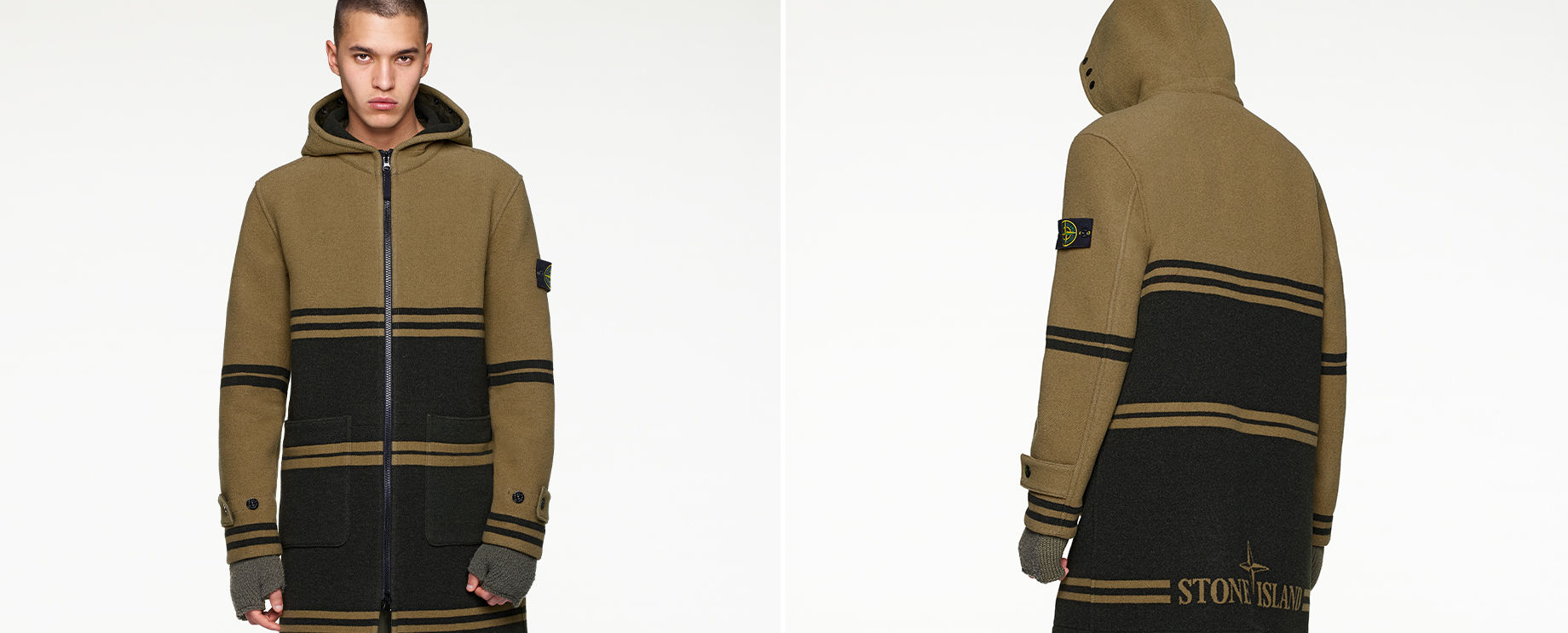Front and back views of model wearing green and dark green striped, hooded jacket with black zipper fastening.