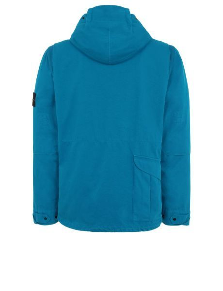 Back view of turquoise, performance jacket with hood and horizontal pocket with flap closure on lower right back.