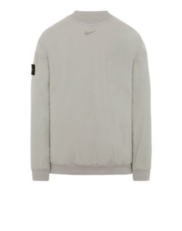 Back view of gray, performance crewneck with ribbed cuffs, neckline and bottom hem, with Nike logo below the neckline.
