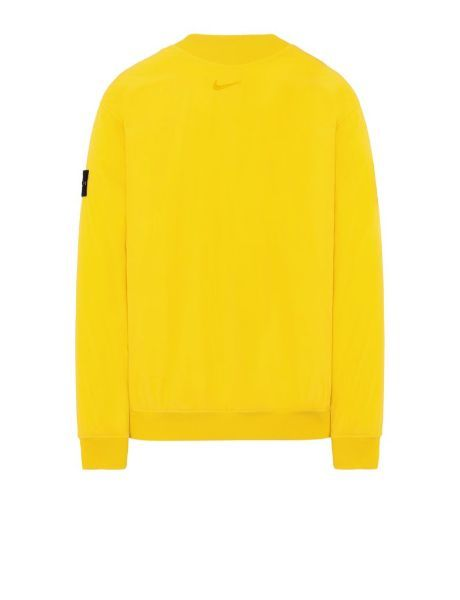 Back view of yellow, performance crewneck with ribbed cuffs, neckline and bottom hem, with Nike logo below the neckline.