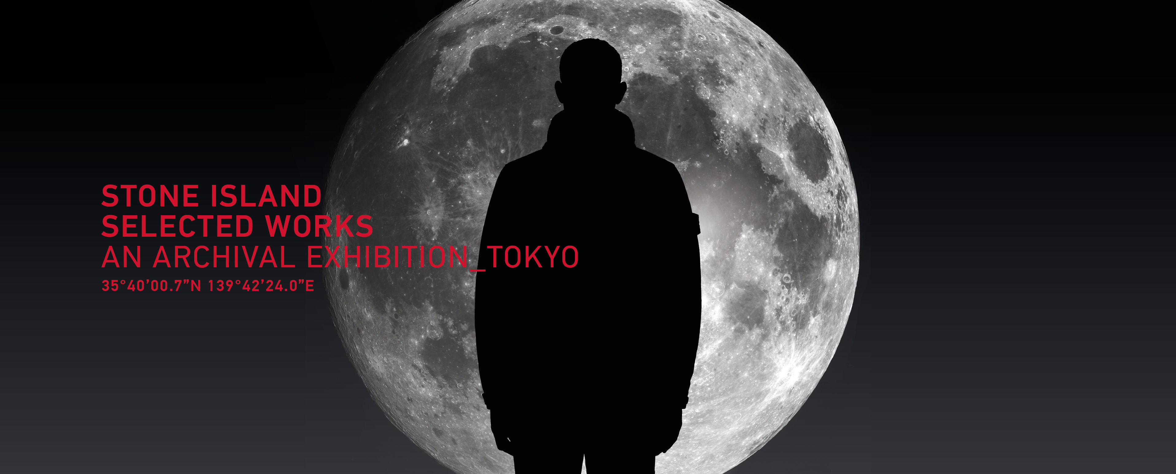 Model wearing a sportswear jacket, standing fully silhouetted against the moon