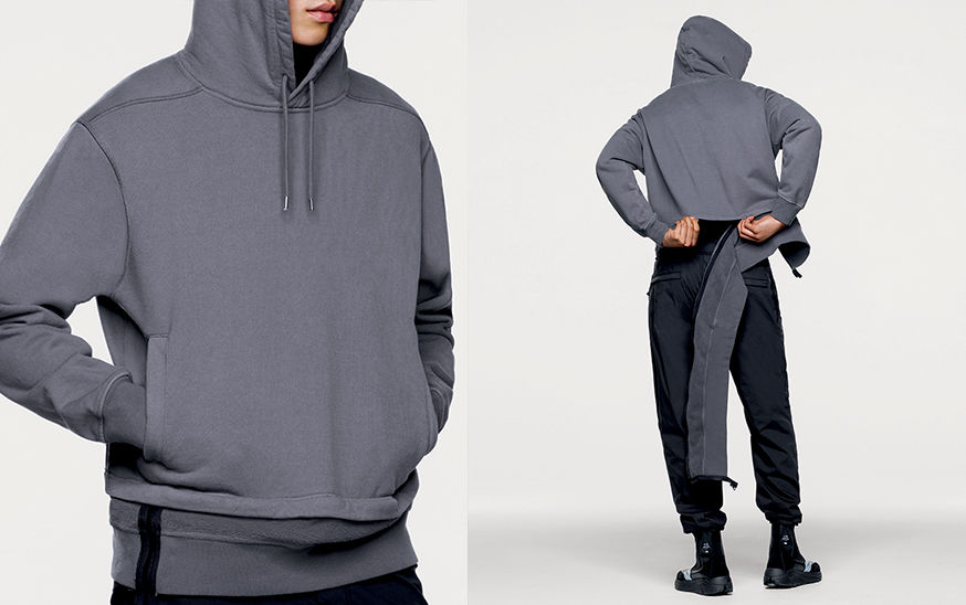Front and back views of model in gray, hooded sweater with adjustable length.