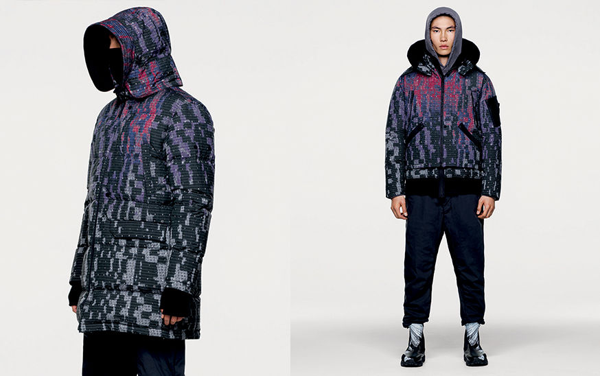 Two shots, one of model wearing multi colored, quilted, mid length jacket with hood and one of model in hooded bomber jacket in the same fabric.