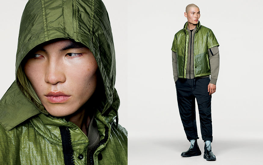Two shots, a close up of model wearing green hood in lightweight nylon fabric and model wearing green vest with short sleeves.