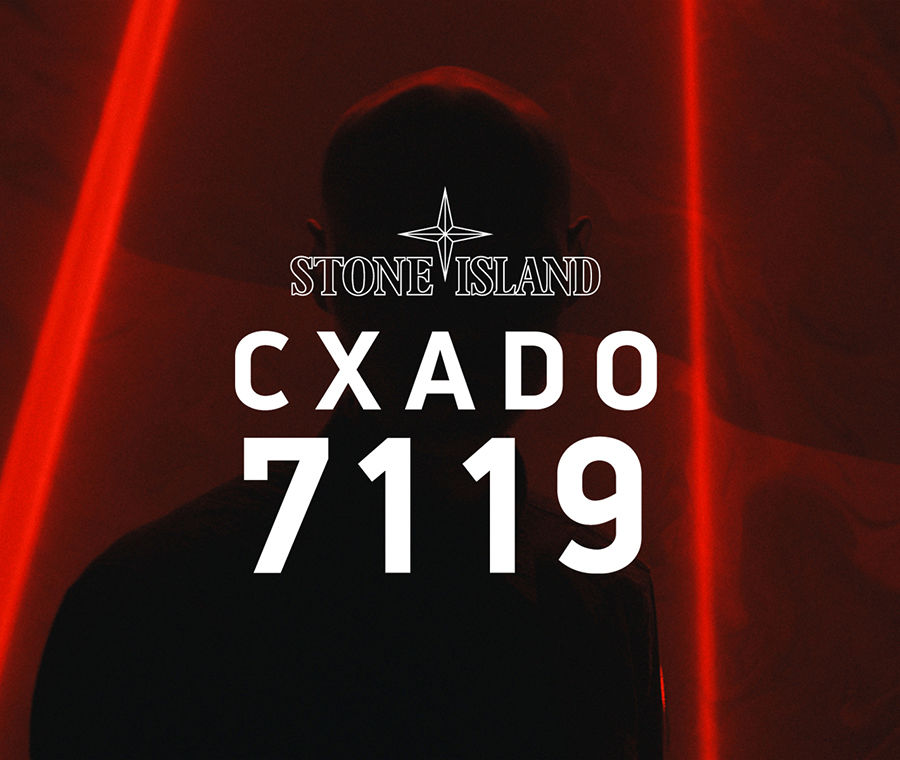 Stone Island logo and the words CXADO 7119 in white font over a photo of a dark silhouette and red neon lights