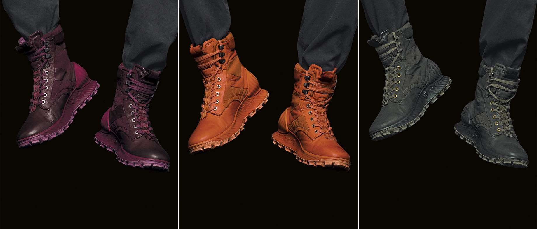 Three photos of rugged lace up ankle boots with tread soles in maroon, orange, and dark green with monochrome laces