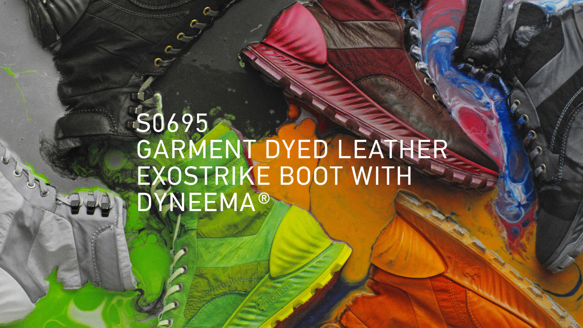 Black, red, dark grey, orange, green, and light grey rugged lace up ankle boots lying in puddles of multicolored paint, with collection title overlay in white font reading S0695 GARMENT DYED LEATHER EXOSTRIKE BOOT WITH DYNEEMA®