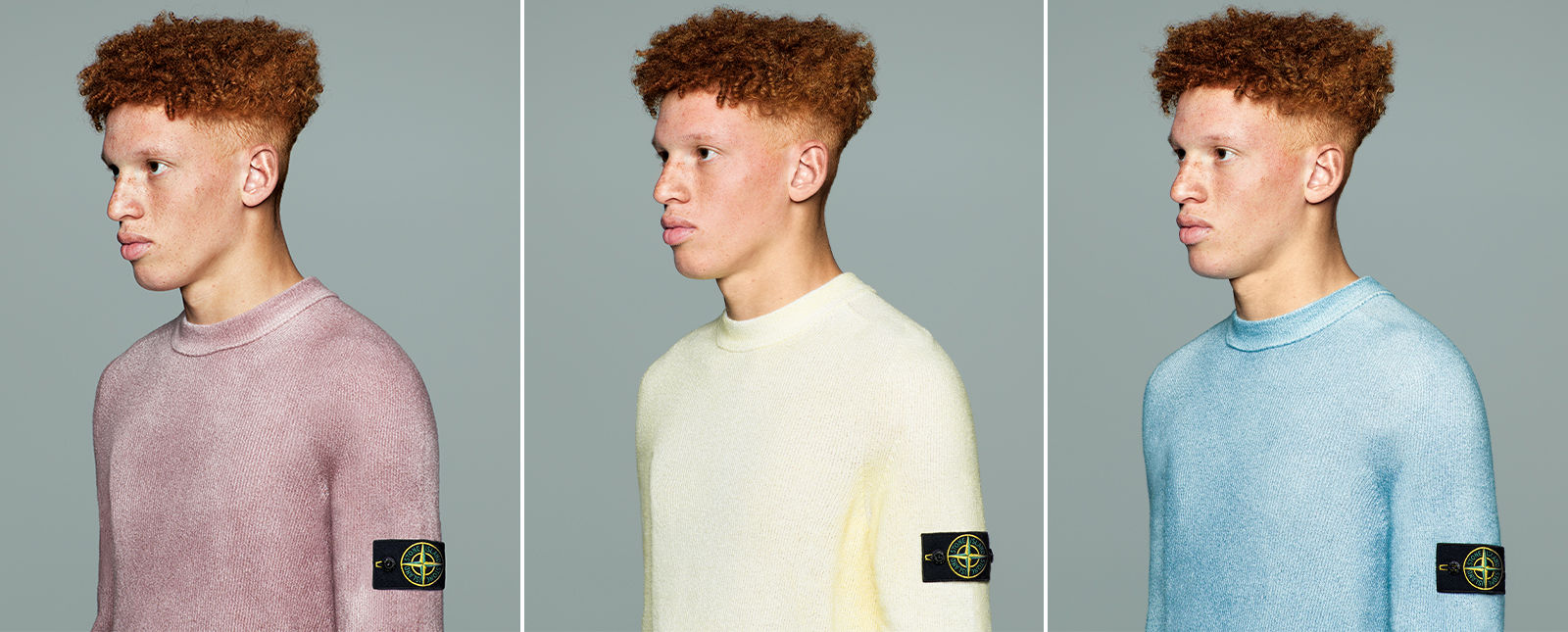 Three pictures of the same male model wearing different color variations of a crewneck sweater with the Stone Island badge on the left arm: mauve, cream, and light blue.