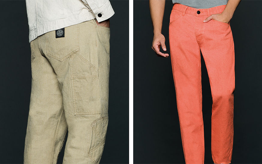 Two models, one wearing dark blue pants with patch pocket with button closure on upper left thigh, the other one wearing dark brown pants with Stone Island patch on the back pocket.