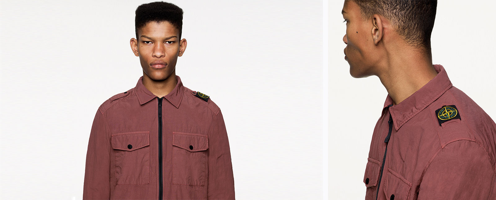 Front and side view of model wearing a brick red overshirt with shirt collar, black zipper fastening, two chest bellows pockets with flap and button fastening and the Stone Island badge on the left shoulder.