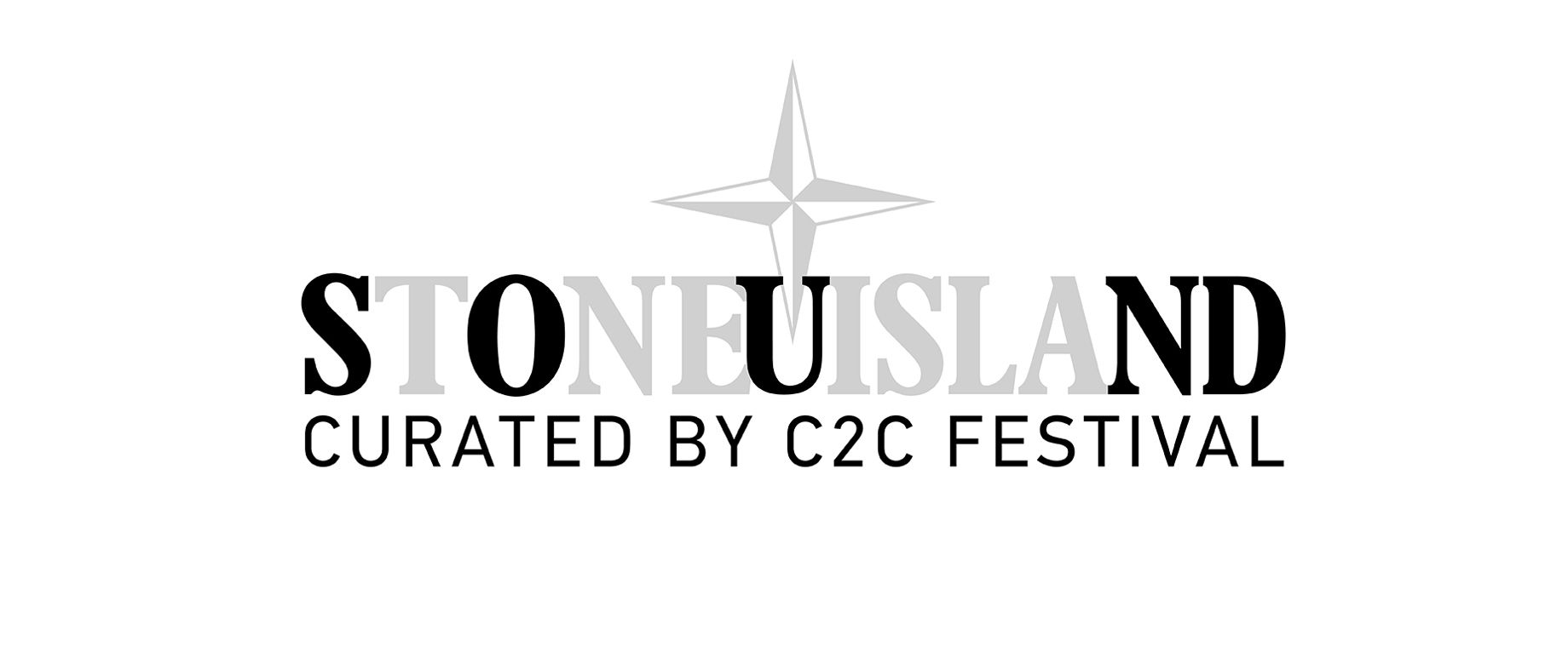 Stone Island logo. Text StoneUIsland. Curated by C2C Festival