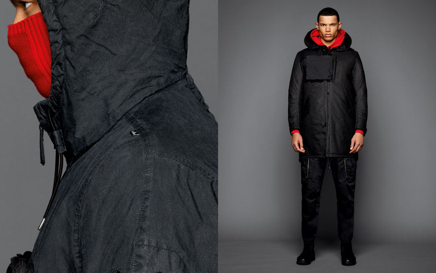 Two shots of the same model, one showing the detail of a dark colored jacket with hood and drawstring, the other one with the model wearing black boots, black cargo pants, a red sweatshirt with hood and a black parka with hood and a big chest strap.