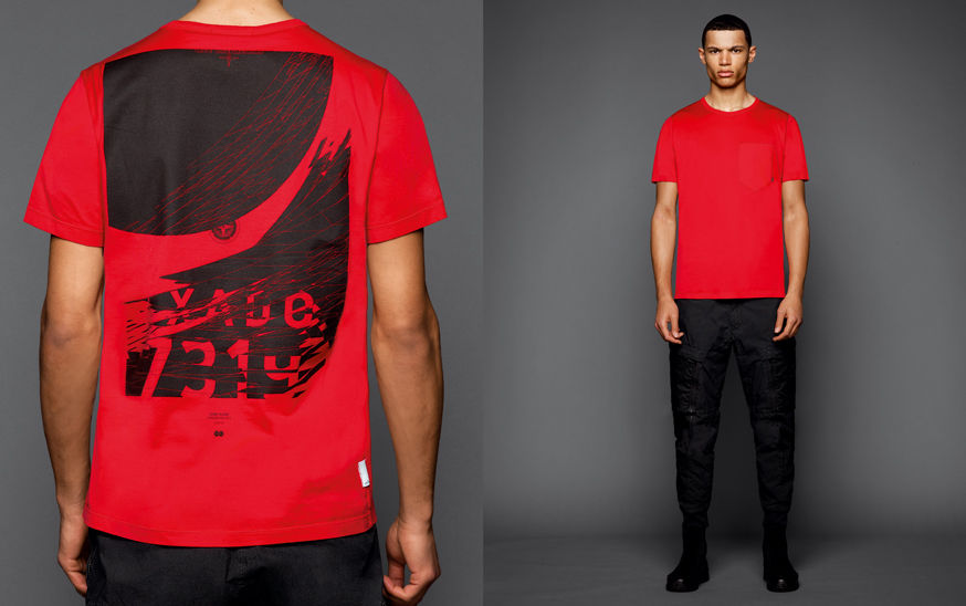 Two shots of the same model, one showing the back of a red t shirt with a black graphic print, the other one with the model wearing black boots, black cargo pants and a red t shirt with round neckline and a breast pocket.