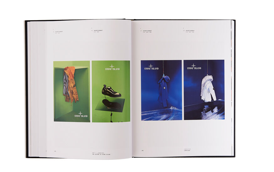 Still life image of an open hardcover book showing two pictures with green backgrounds on the left page, one of a yellow jacket and one of a sneaker, and two pictures with blue backgrounds on the right page, one of a blue jacket and one of a white jacket.